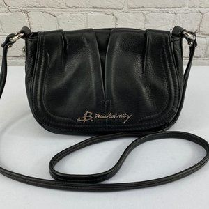 B. Makowsky Black Leather Crossbody Bag Small